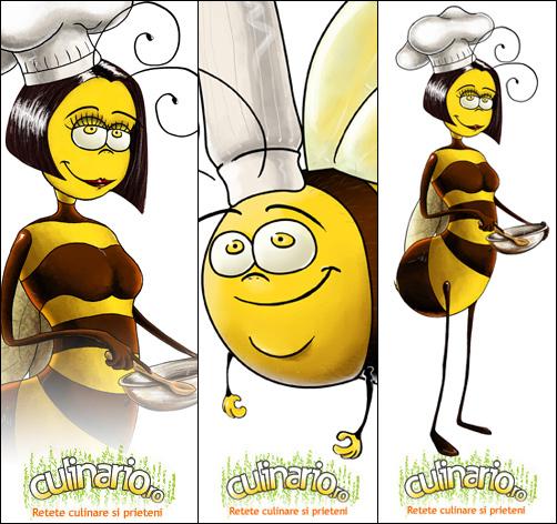 culinario, corporate identity design, mehecske rajz, bee, character designdrawing, cute bee drawings