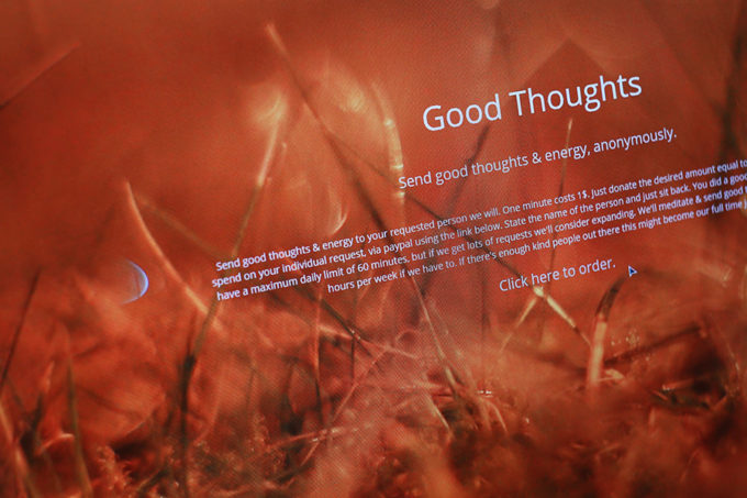 Send good thoughts & energy, anonymously